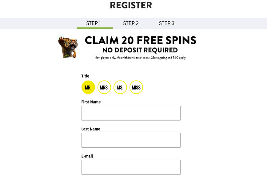 Aspers Casino Registration Form