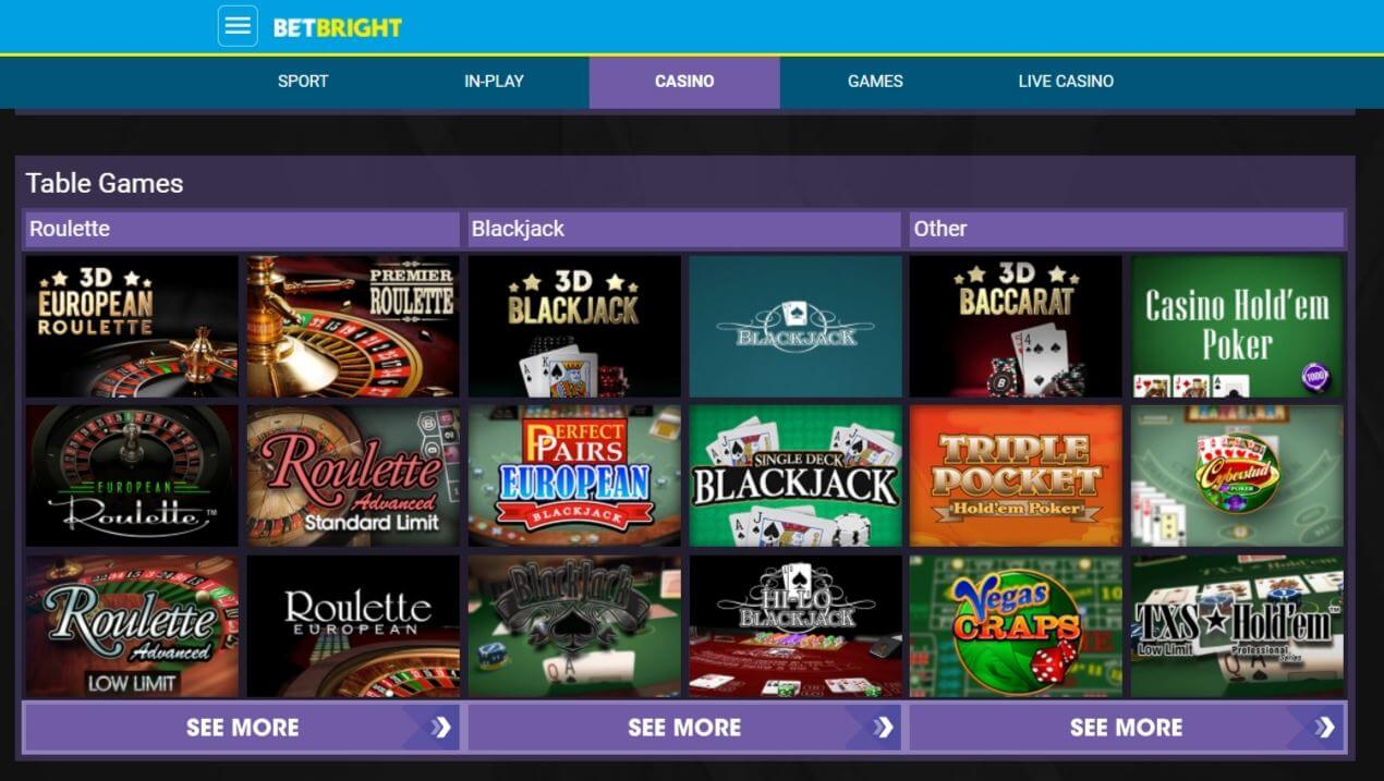 Betbright Available Games